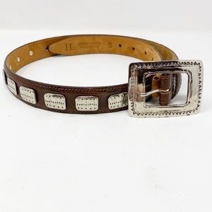 Harold Powell Italian Leather Silver Belt S